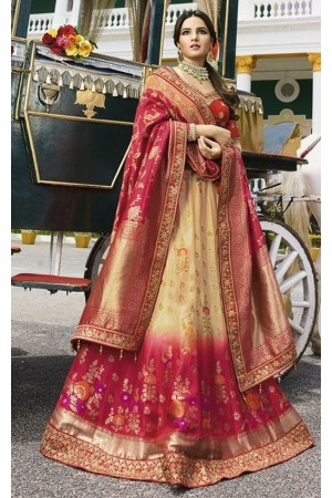 Ivory pink silk Indian wedding lehenga 13166
