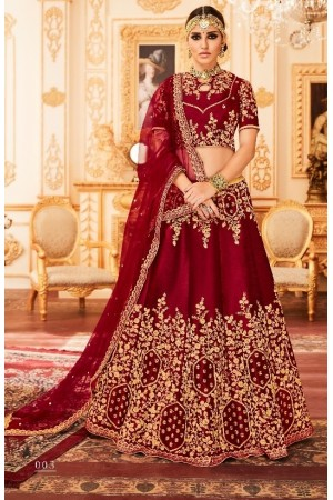 Maroon Silk Indian wedding Lehenga choli 003