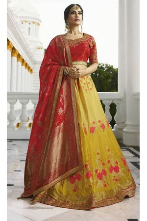 Mustard silk Indian wedding lehenga 13169