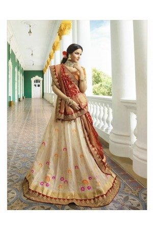 Off white silk Indian wedding lehenga 13164