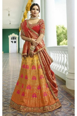 Orange red silk Indian wedding lehenga 13165