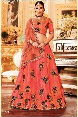 Peach Silk Indian wedding Lehenga choli 001