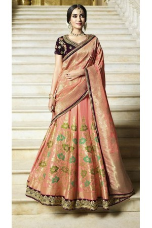 Peach silk Indian wedding lehenga 13163
