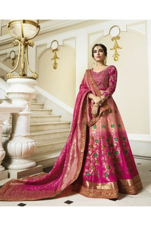 Pink silk Indian wedding lehenga 13167