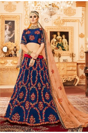 Royal blue Silk Indian wedding Lehenga choli 002
