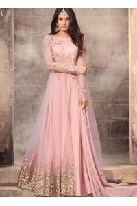 Sonal Chauhan baby pink net wedding anarkali