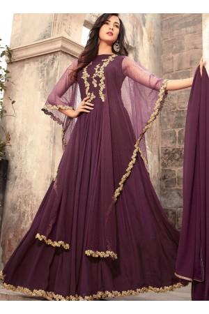 Sonal Chauhan purple georgette wedding anarkali