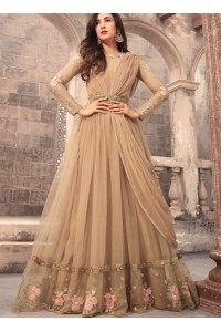 Sonal Chauhan beige color net wedding anarkali