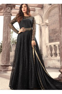 Sonal Chauhan net black color wedding anarkali