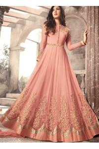 Sonal Chauhan peach color net wedding anarkali