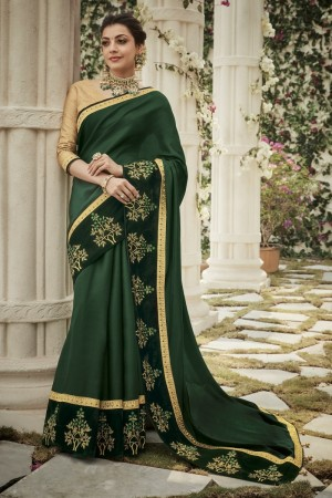 kajal aggarwal dark green colour saree 2204