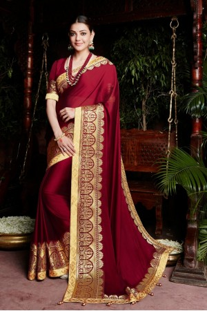 kajal aggarwal dark red colour 1227KM