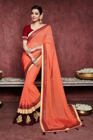 kajal aggarwal green colour saree with chikoo colour 1233KM