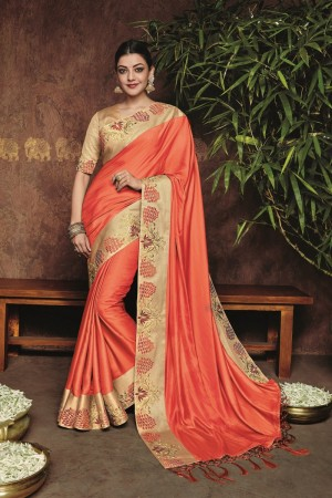 kajal aggarwal orange colour 1221KM