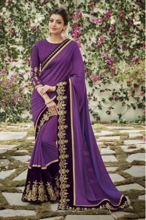 kajal aggarwal purple colour 1205KM
