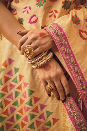 sunheri meena and embroidery work cream colour 1212KM