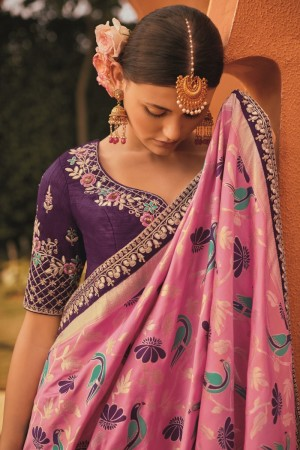 sunheri meena and embroidery work rose pink colour 1211KM