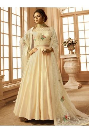 Drashti Dhami off white net and linen wedding anarkali
