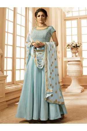 Drashti Dhami sky blue Linen satin wedding anarkali