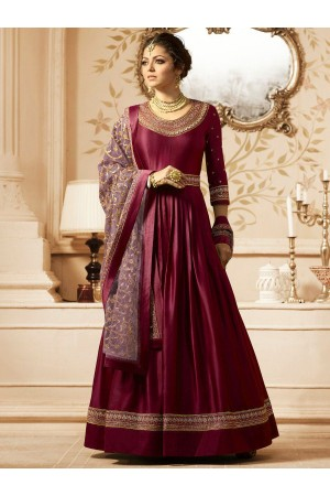 Drashti Dhami Wine color Linen satin wedding anarkali