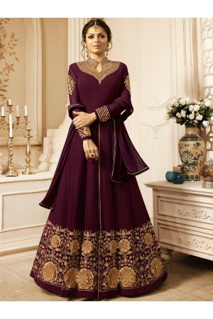 Drashti Dhami Wine color georgette wedding anarkali