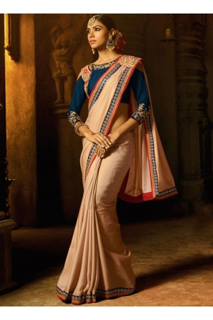 Beige blue fancy fabric embroidered work classic saree 74109