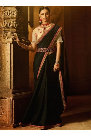 Black art silk patch border work designer traditional saree 74108