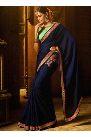 Blue art silk embroidered work traditional designer saree 74110