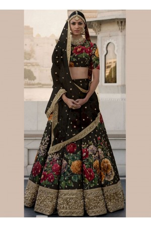 Bollywood Sabyasachi Inspired Black art silk bridal lehenga