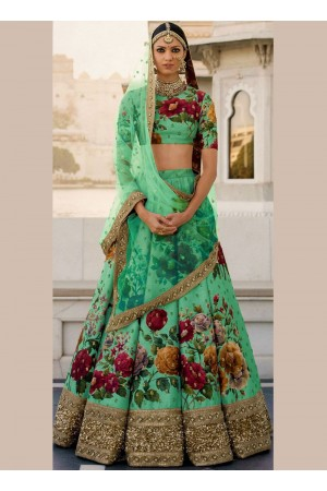 Bollywood Sabyasachi Inspired Green art silk bridal lehenga