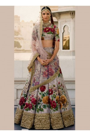Bollywood Sabyasachi Inspired Grey art silk bridal lehenga