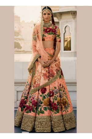 Bollywood Sabyasachi Inspired Peach art silk bridal lehenga