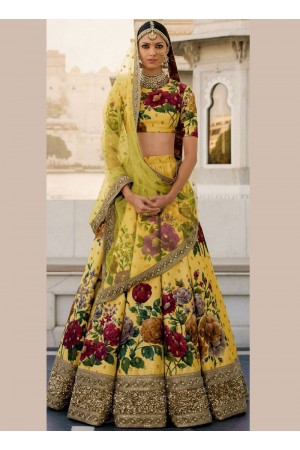 Bollywood Sabyasachi Inspired Yellow art silk bridal lehenga