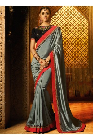 Grey black color classic designer saree 74105