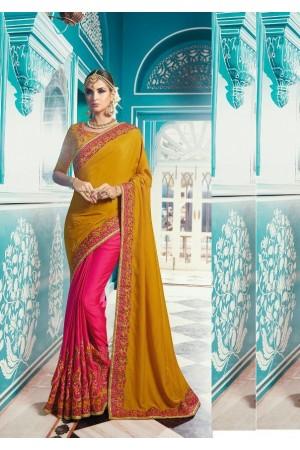 Mustard pink color crepe silk wedding saree 7904