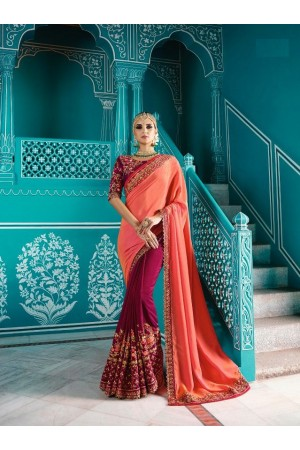 Peach purple color shaded crepe silk wedding saree 7902