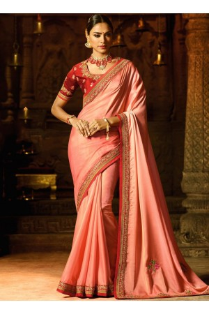 Peach red border work classic saree 74107