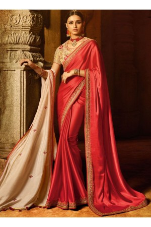 Red embroidered work designer traditional saree 74113