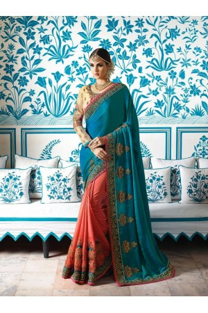 Teal green Crepe Silk Wedding wear saree 7901