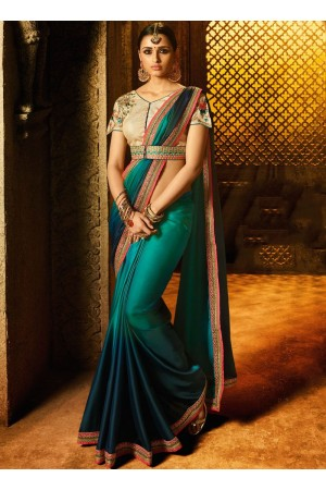 Teal green gold fancy fabric blue and green shaded saree 74115