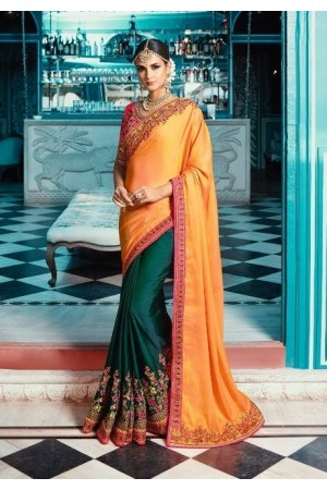 Yellow green pink color crepe silk wedding saree 7910