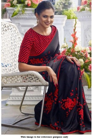 Bollywood Inspired Black and red georgette saree