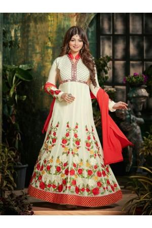 Ayesha takia Eid Special Hand work Cream Anarkali Suit