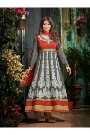 Ayesha takia Eid Special Hand work Grey Anarkali Suit