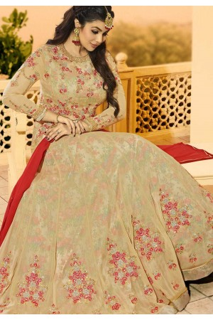 Ayesha Takia Beige color georgette party wear Anarkali