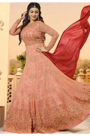 Ayesha Takia Peach color georgette party wear Anarkali