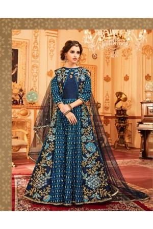 Navy blue silk wedding wear anarkali suit