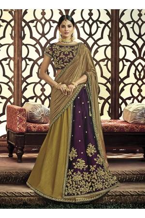 Olive green and violet dhupion wedding lehenga