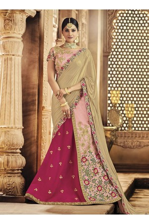 Pink and gold raw silk wedding lehenga