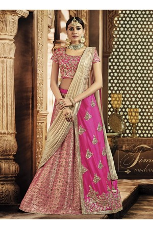 Pink and gold jacquard silk wedding lehenga